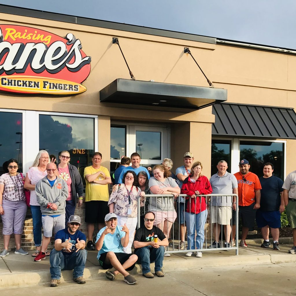 New Danville clients (Wranglers) enjoy Social Club visit to Cane's for chicken dinner